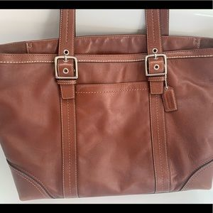 Brown Leather Coach Tote